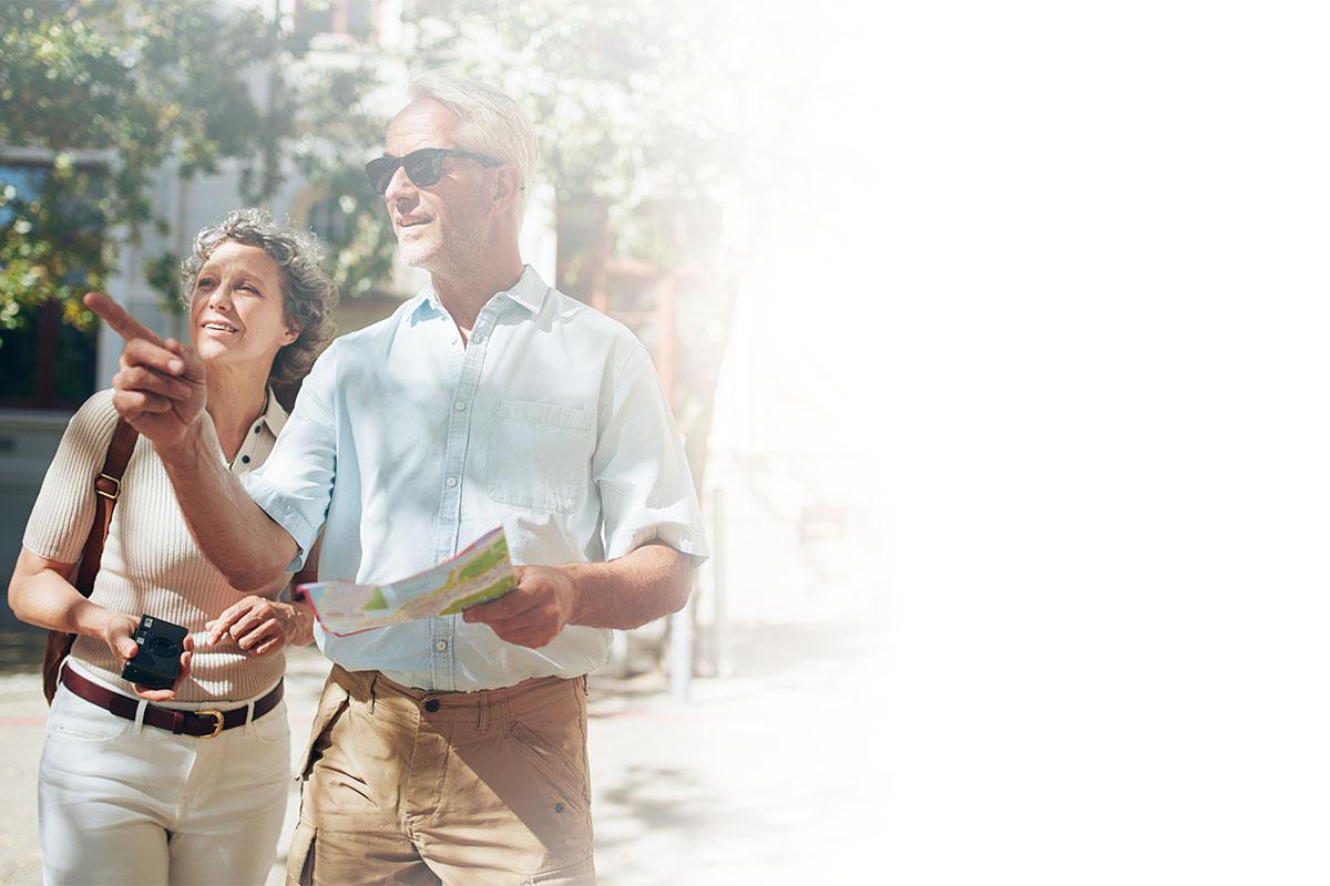 couple explore a foreign city