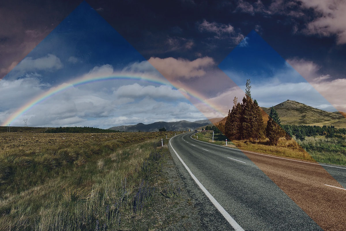 rainbow across mountain top